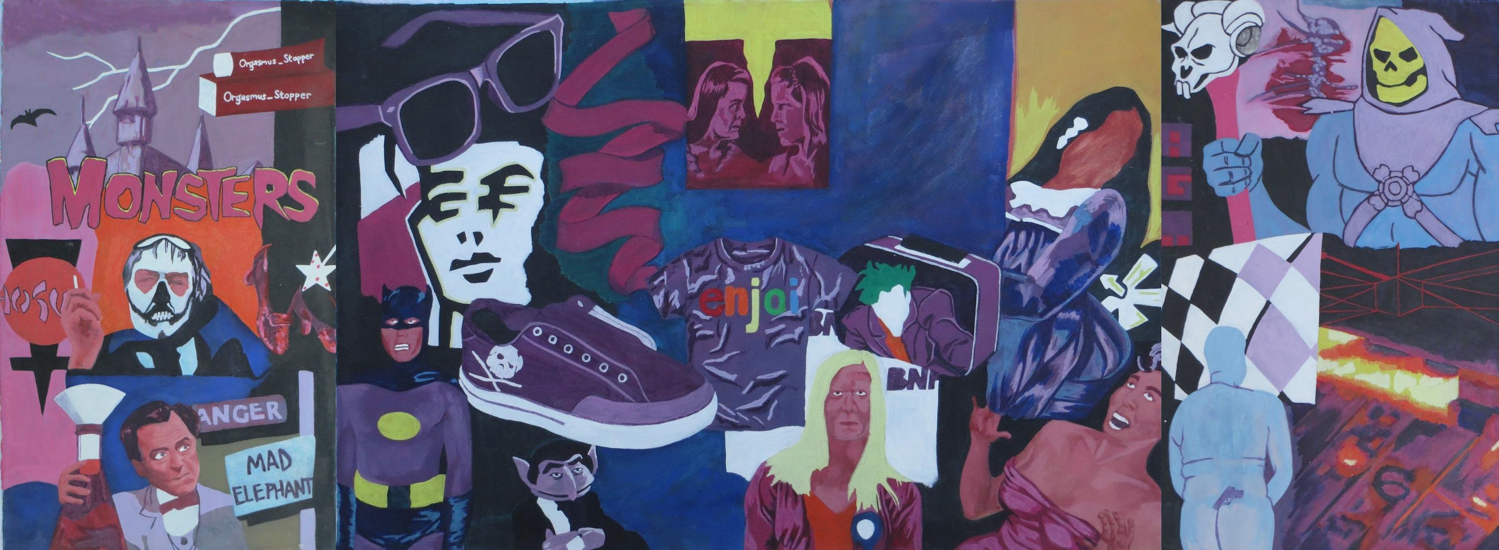 Artiste mural tapisserie appliqué sur le mur