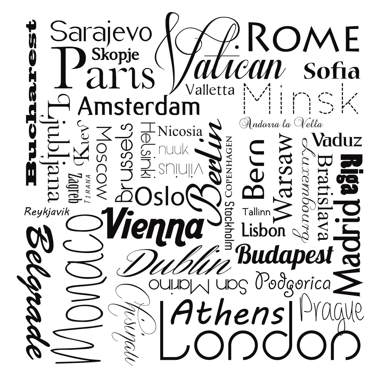 Noms de villes en noir et blanc papier peint 3d