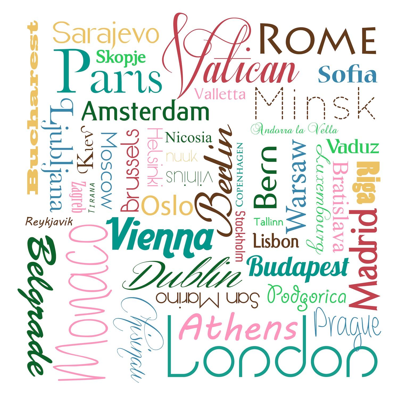 Noms de villes colorés papiers peints photo