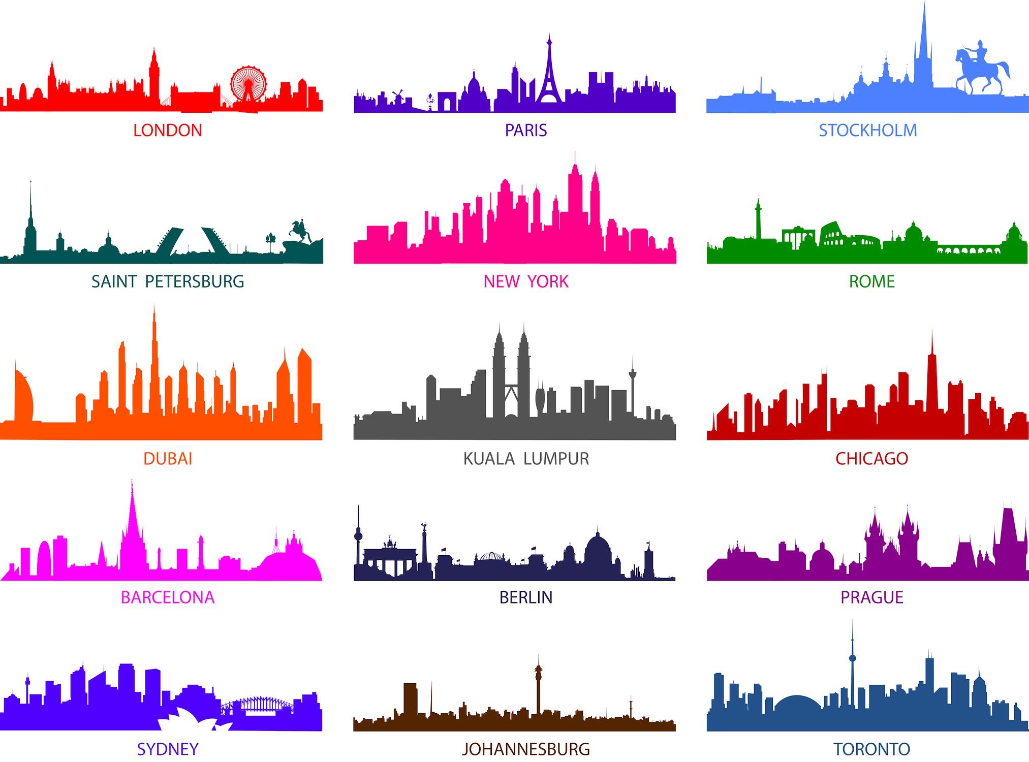 Silhouettes colorées des villes papiers peints photo 3D