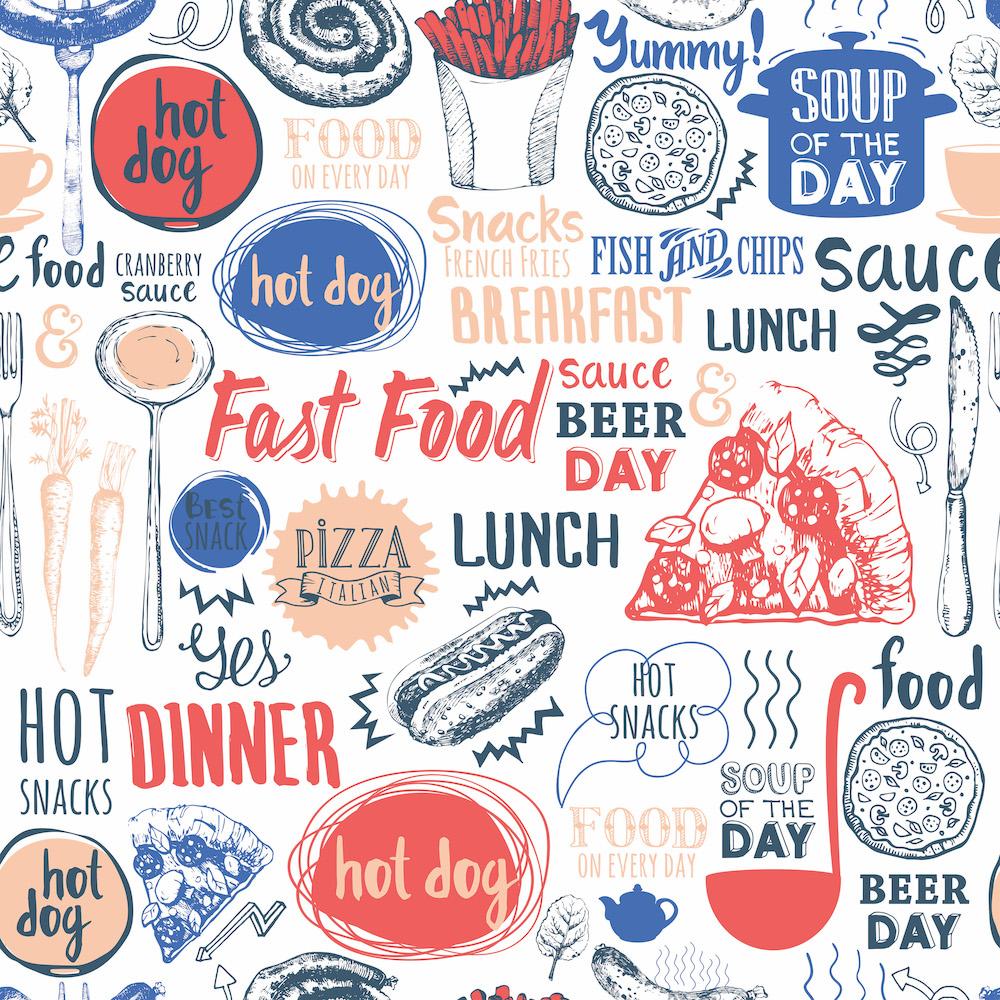 Burgers et frites tapisserie murale