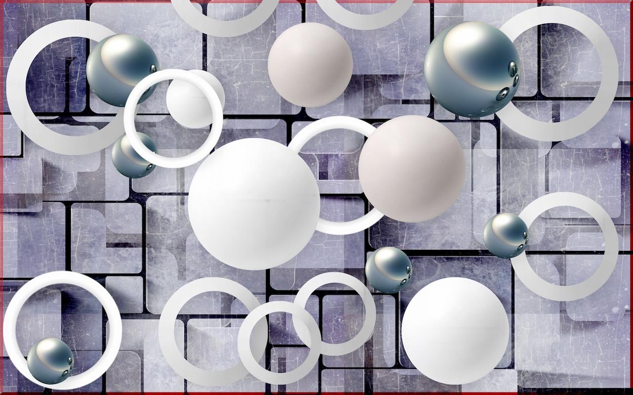 Sphères et cercles tapisserie murale