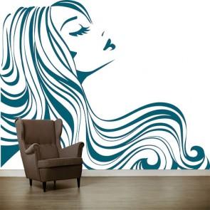 Cheveux ondulés tapisserie murale appliqué sur le mur