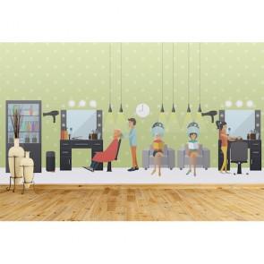 Salon de coiffure papiers peints photo 3D appliqué sur le mur