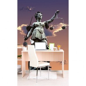 Symbole de justice papiers peints photo 3D appliqué sur le mur