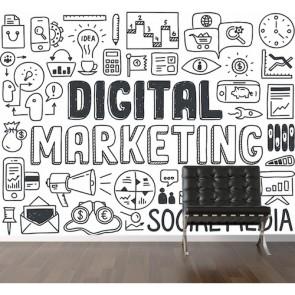 Le marketing numérique papiers peints photo 3D appliqué sur le mur
