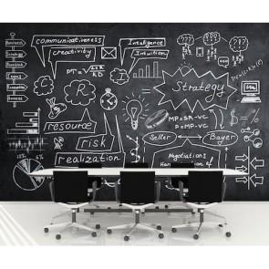 Modèle d'affaires tapisserie appliqué sur le mur