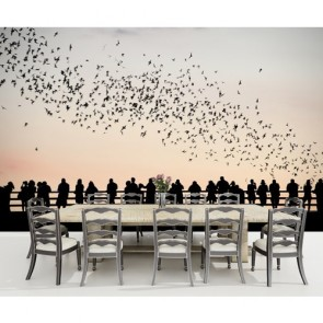 Oiseaux et personnes papiers peints photo