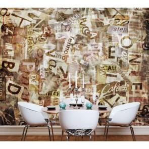 Coupures de journaux papiers peints photo 3D appliqué sur le mur