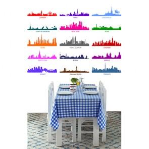 Silhouettes colorées des villes papiers peints photo 3D appliqué sur le mur
