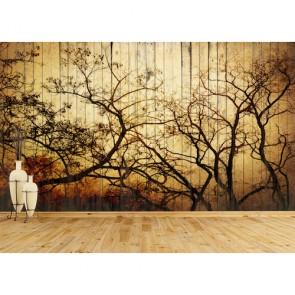 Art sur une planche de bois tapisserie appliqué sur le mur