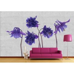 Fleurs tricotées decoration murale appliqué sur le mur