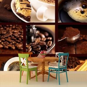 Café et gâteau papiers peints photo 3D appliqué sur le mur