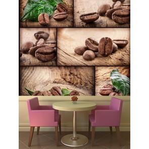 Grains de café tapisserie appliqué sur le mur