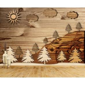 Forêt de bois tapisserie appliqué sur le mur