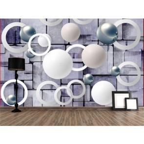 Sphères et cercles tapisserie murale appliqué sur le mur