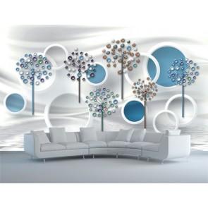 Fleurs circulaires papiers peints photo appliqué sur le mur