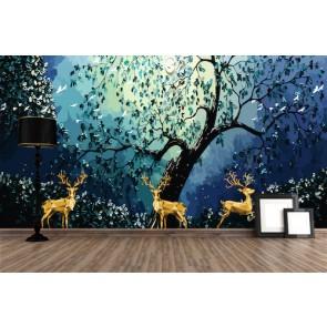 Cerf doré papiers peints photo 3D appliqué sur le mur