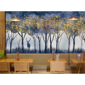 Cerf et forêt papier peint appliqué sur le mur