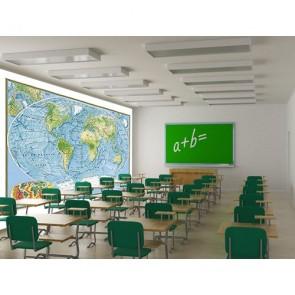 Carte du monde tapisserie appliqué sur le mur