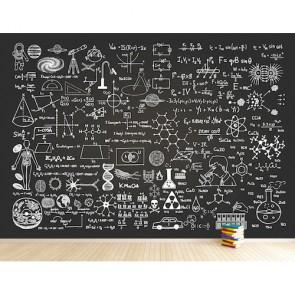 Formules scientifiques tapisserie appliqué sur le mur