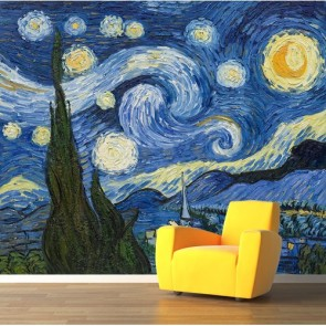 Nuit étoilée papier peint 3d appliqué sur le mur