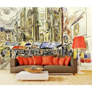 Marché papier peint 3d appliqué sur le mur