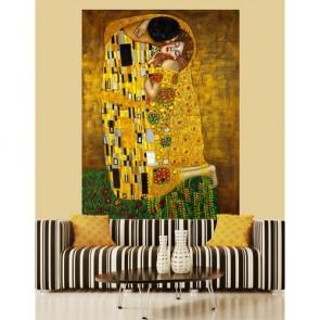 Le baiser tapisserie murale appliqué sur le mur