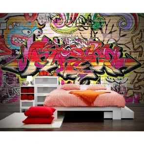 Graffiti papiers peints photo appliqué sur le mur