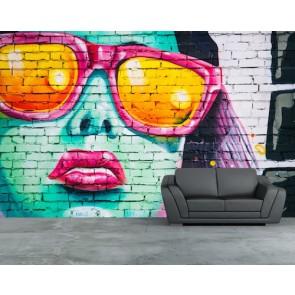 Style appelé graffiti tapisserie appliqué sur le mur