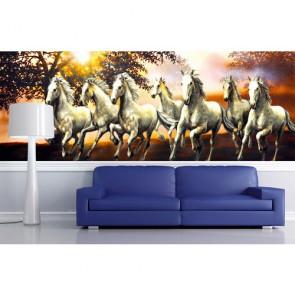 Sept chevaux gratuits tapisserie appliqué sur le mur