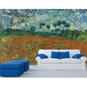 Van Gogh - Champ de pavot decoration murale appliqué sur le mur