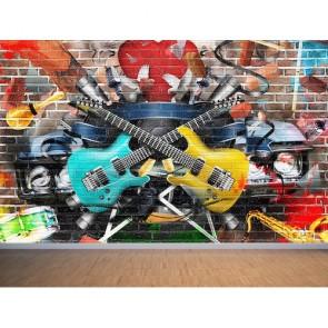 Musique et graffiti papier peint appliqué sur le mur