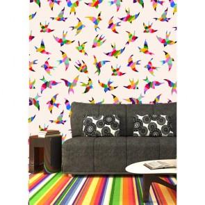 Oiseaux colorés papier peint 3d