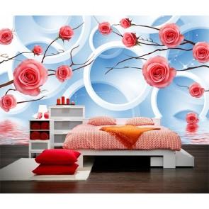 Roses et cercles tapisserie murale appliqué sur le mur