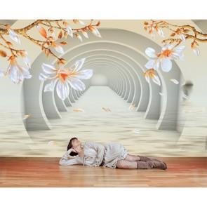 Tunnel avec des fleurs papier peint 3d appliqué sur le mur