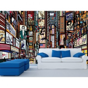 Times Square papiers peints photo 3D appliqué sur le mur