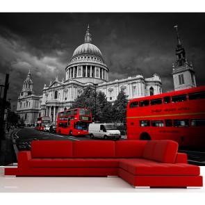 Bus rouges à Londres papiers peints photo 3D appliqué sur le mur