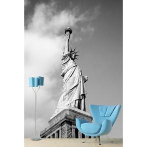 Statue de la liberté en noir et blanc papiers peints photo 3D appliqué sur le mur