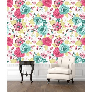 Design floral turquoise et rose papiers peints photo