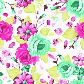 Design Floral Turquoise Et Rose