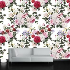 Maison avec des fleurs tapisserie murale