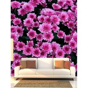 Fleurs pourpres decoration murale appliqué sur le mur