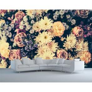 Fleurs nostalgiques papier peint 3d appliqué sur le mur