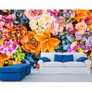 Fleurs éclatantes papiers peints photo appliqué sur le mur