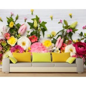 Exposition de fleurs tapisserie appliqué sur le mur