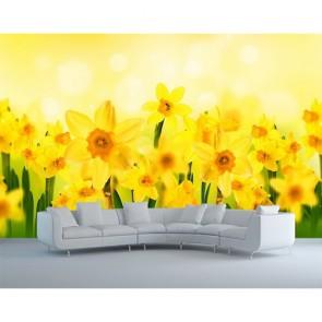 Soleil et fleurs papiers peints photo appliqué sur le mur