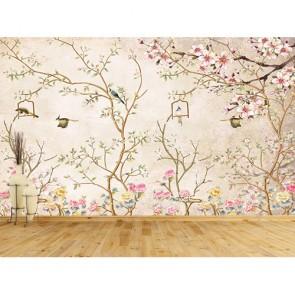 Oiseau et fleurs papier peint appliqué sur le mur