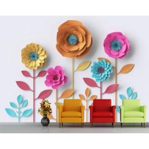 Fleurs de marionnettes decoration murale appliqué sur le mur