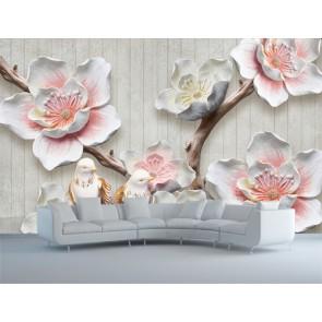 Fleurs sur bois papier peint 3d appliqué sur le mur